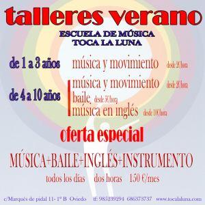 Cartel anunciador actividades musicales en verano para niños y niñas