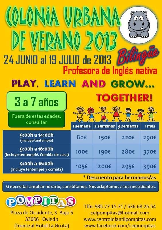 Cartel anunciador colonia bilingüe en Oviedo