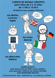 Cartel anunciador talleres de inglés aleman e italiano