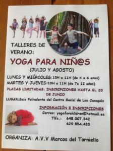 Taller de yoga para niños en verano en Avilés.